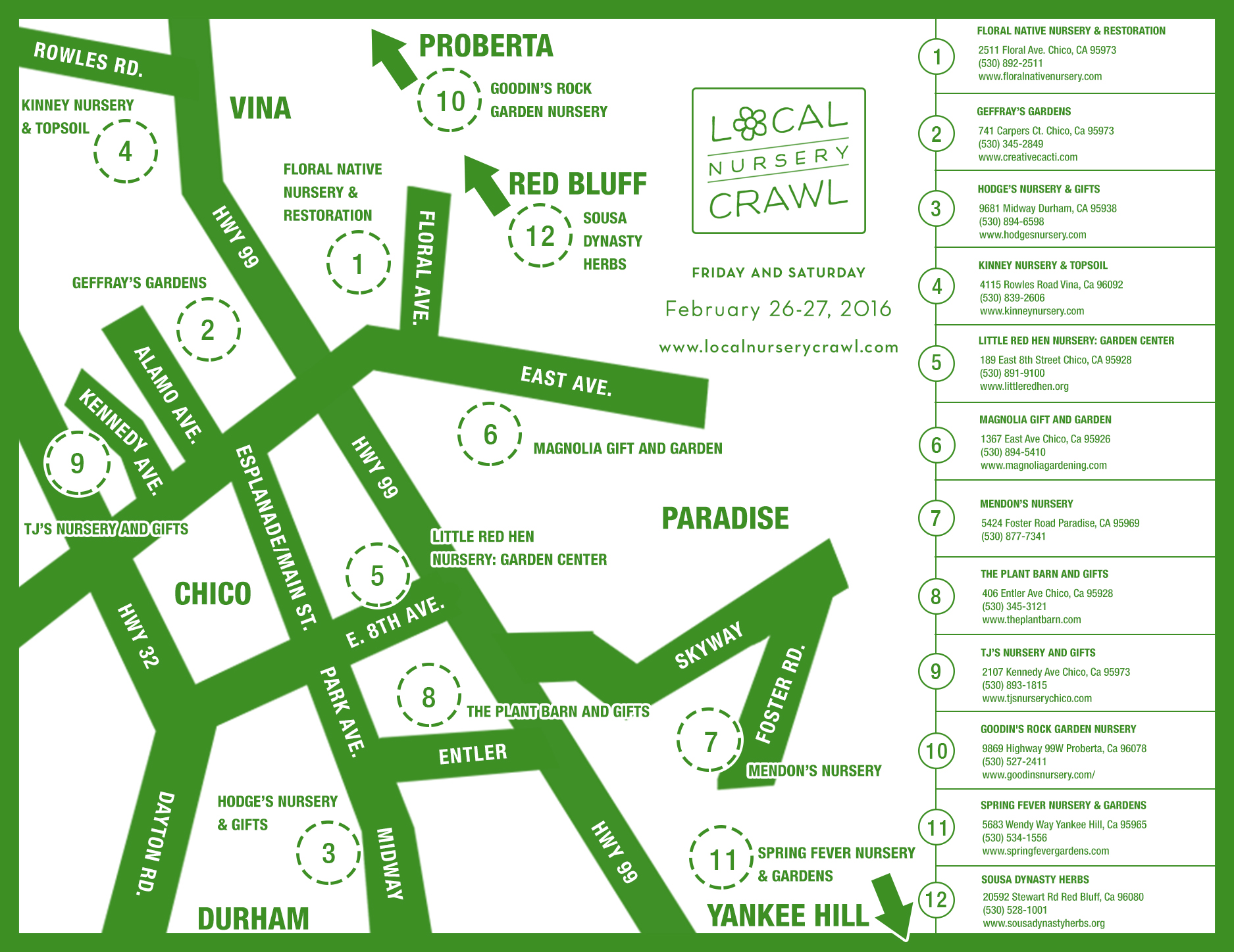 Local Nursery Crawl Map 2016